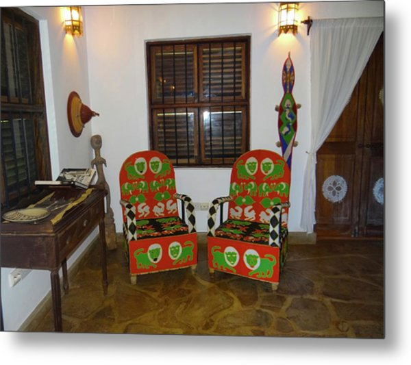 African Interior Design 5 Beaded Chairs Metal Print