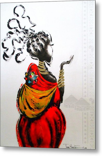 African Lady And Baby Metal Print