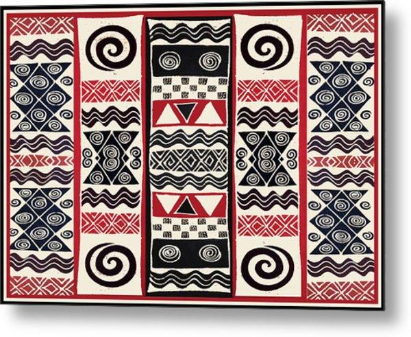African Tribal Ritual Design Metal Print