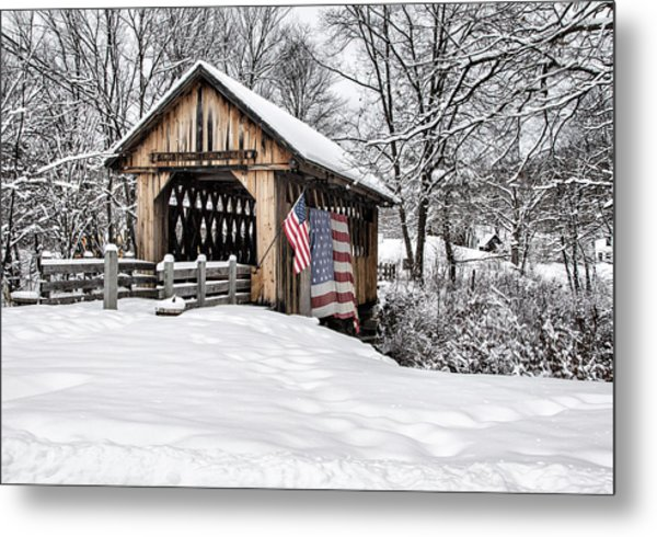 After A Winter Snow Storm Cilleyville Covered Bridge  Metal Print