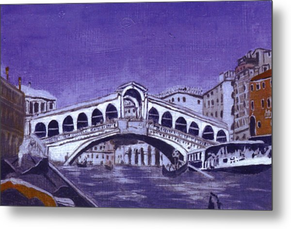 After Canal Grande With The Rialto Bridge Metal Print by Hyper - Canaletto