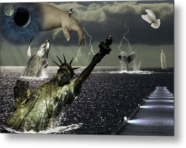 Metal Print featuring the digital art After Global Warming by Wade Clark