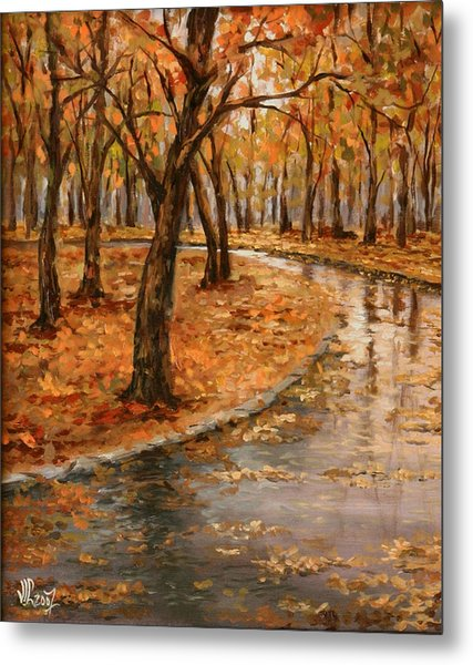 After Rain,walk In The Central Park Metal Print