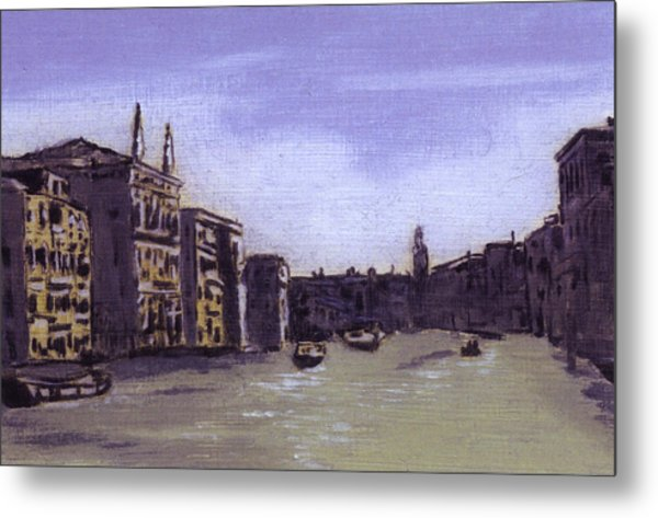 After The Grand Canal From Campo San Vio Near The Rialto Bridge Metal Print by Hyper - Canaletto