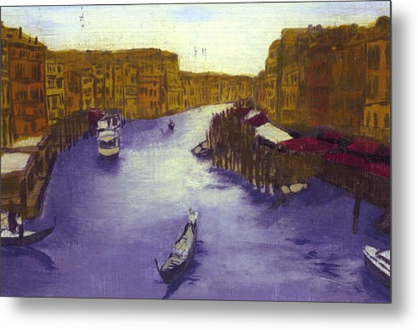 After The Grand Canal From The Rialto Bridge Metal Print by Hyper - Canaletto