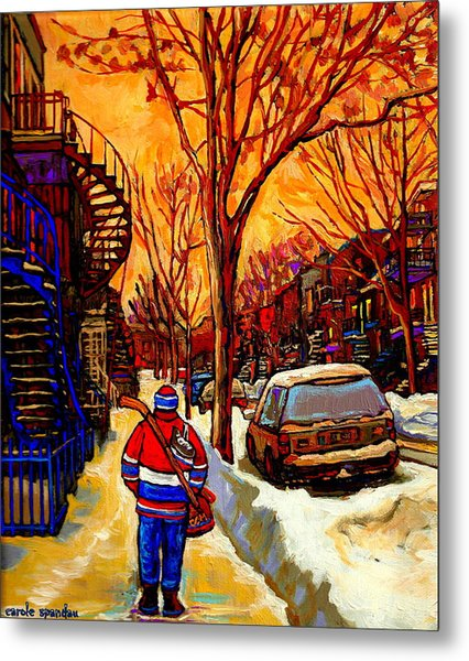 After The Hockey Game A Winter Walk At Sundown Montreal City Scene Painting  By Carole Spandau Metal Print