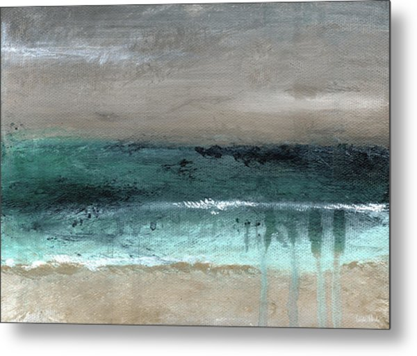 After The Storm 2- Abstract Beach Landscape By Linda Woods Metal Print