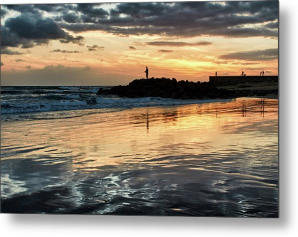 Metal Print featuring the photograph Afterglow Fishing by Marc Huebner