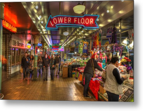 Afternoon At The Pike Street Market Seattle Washington Metal Print