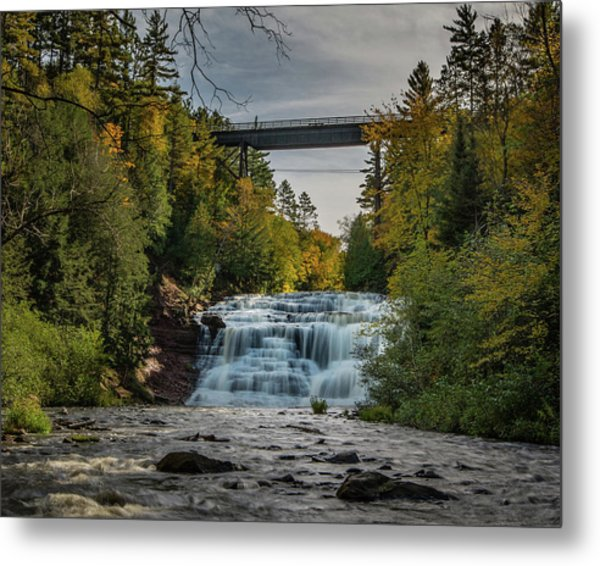 Agate Falls With Railroad Bridge Metal Print