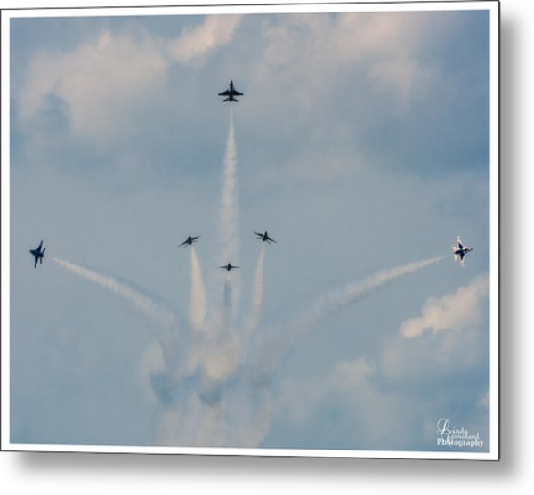 Metal Print featuring the photograph Air Force Thunderbirds by Linda Constant