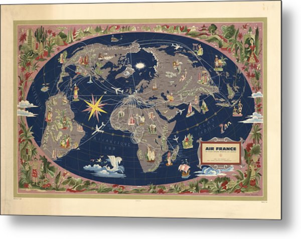 Air France - Illustrated Map Of The Air Routes By Lucien Boucher - Historical Map Of The World Metal Print