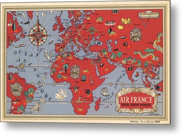 Air France - Vintage Illustrated Map Of The World By Lucien Boucher - Cartography Metal Print
