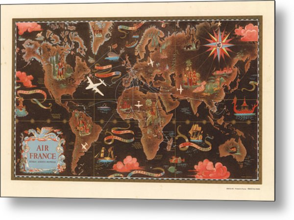 Air France - Vintage Illustrated Map Of The World - Lucien Boucher - Cartography Metal Print