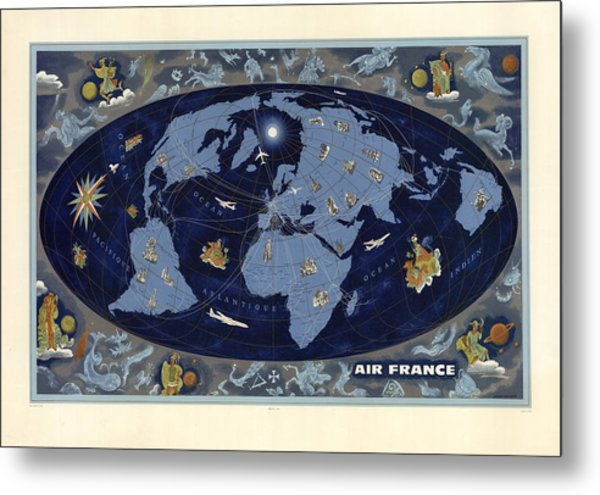 Air France - Vintage Illustrated World Map - Lucien Boucher - Air Routes Metal Print