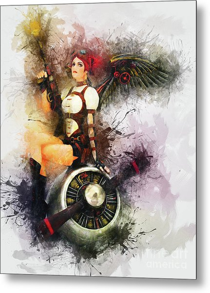 Aircraft Girl Metal Print