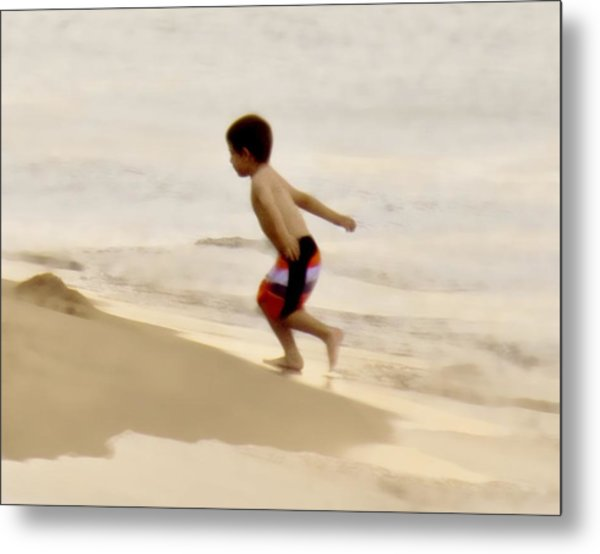 Airplane Boy Metal Print