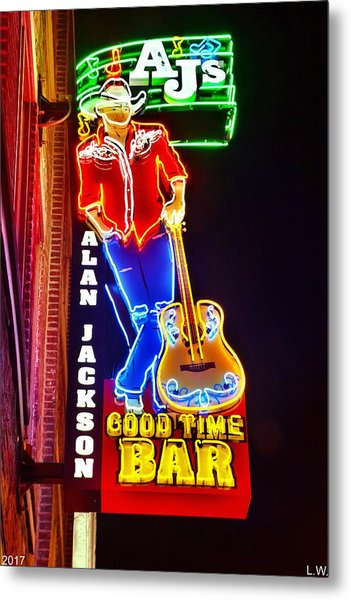 Metal Print featuring the photograph Aj's Good Time Bar by Lisa Wooten
