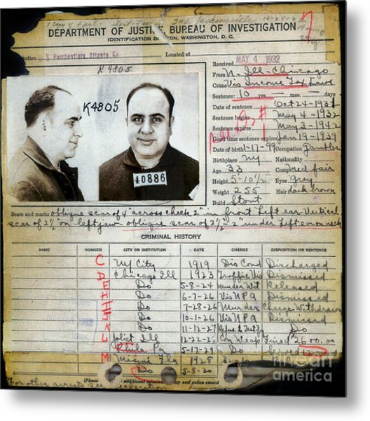 Al Capone Mugshot And Criminal History Metal Print