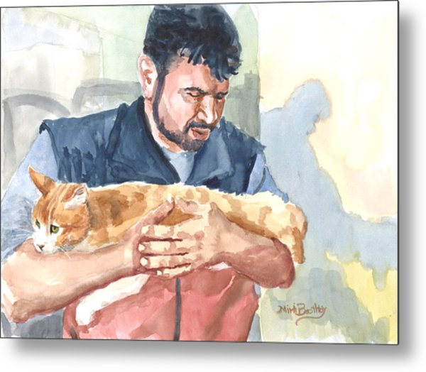 Alaa Rescuing An Injured Cat Metal Print