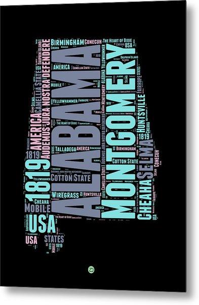 Alabama Word Cloud 1 Metal Print