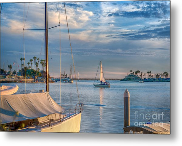 Alamitos Bay Inlet Sailboat Metal Print