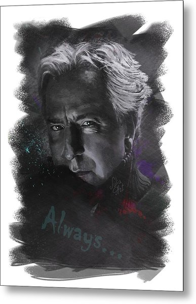 Metal Print featuring the drawing Alan Rickman by Julia Art