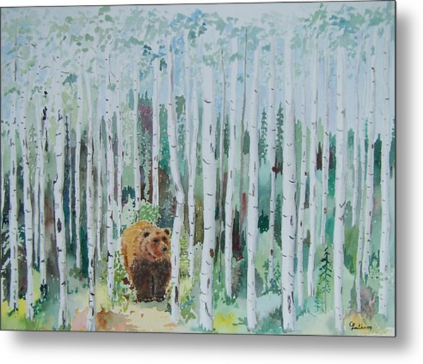 Alaska -  Grizzly In Woods Metal Print