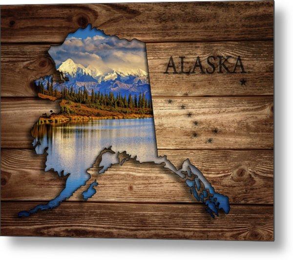 Alaska Map Collage Metal Print