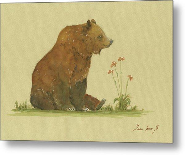 Alaskan Grizzly Bear Metal Print