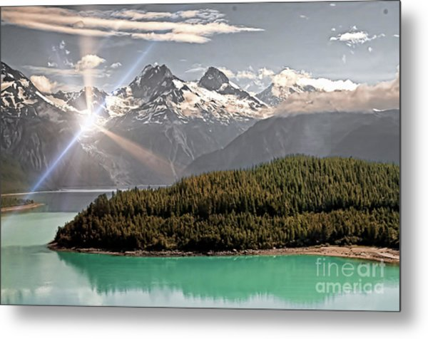 Alaskan Mountain Reflection Metal Print