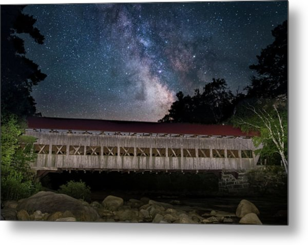 Albany Covered Bridge Under The Milky Way Metal Print