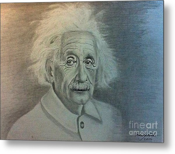 Albert Einstein Portrait Metal Print