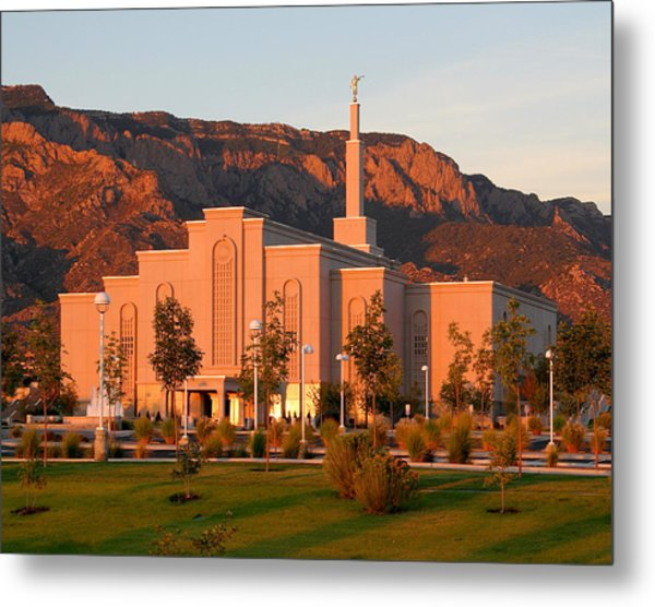 Albuquerque Lds Temple At Sunset 1 Metal Print
