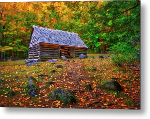 Alex Cole Cabin At Jim Bales Place, Roaring Fork Motor Trail In The Smoky Mountains Tennessee Metal Print