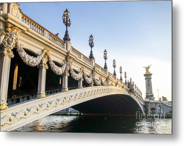 Alexandre IIi Bridge In Paris France Early Morning Metal Print