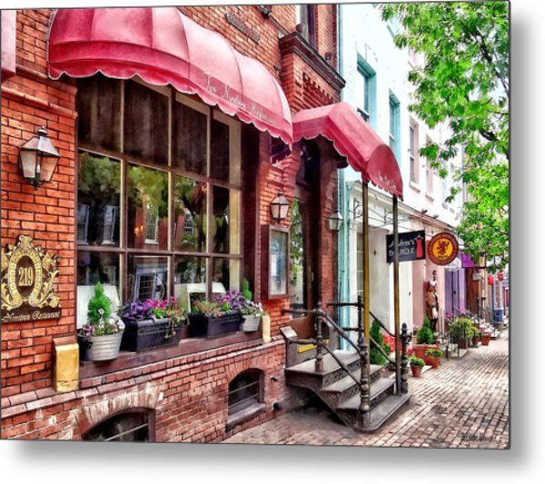 Alexandria Va - Red Awnings On King Street Metal Print
