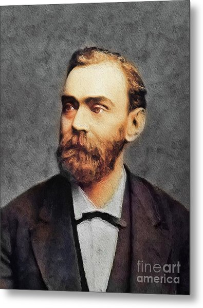 Alfred Nobel, Famous Scientist Metal Print