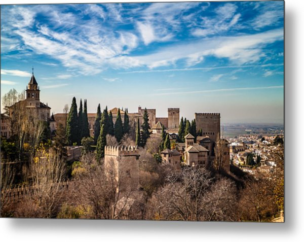 Alhambra Over Granada Metal Print