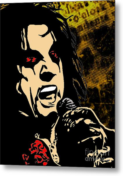 Alice Cooper Illustrated Metal Print