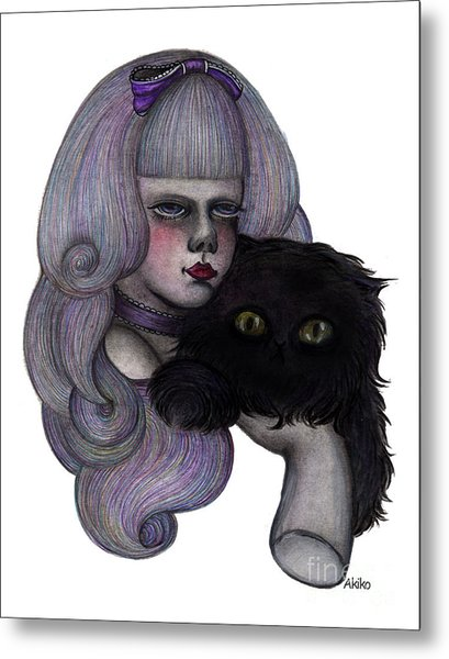 Alice With Black Cat Metal Print