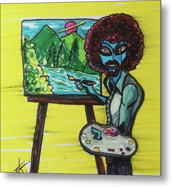 alien Bob Ross Metal Print