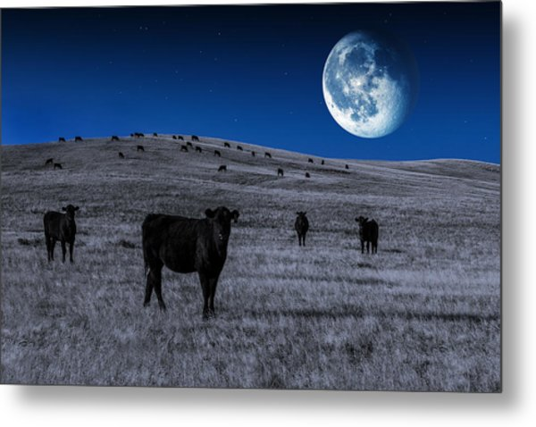 Alien Cows Metal Print