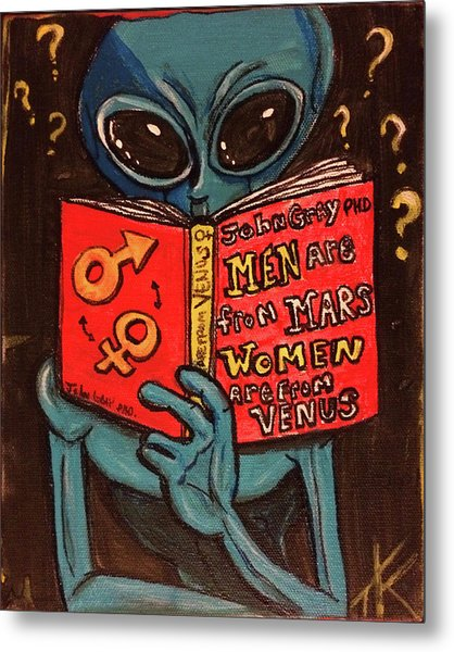 Alien Looking For Answers About Love Metal Print