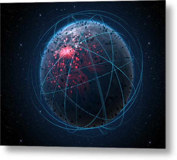 Alien Planet With Illuminated Network And Light Trails Metal Print