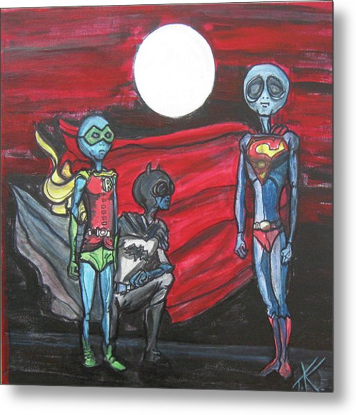 Alien Superheros Metal Print
