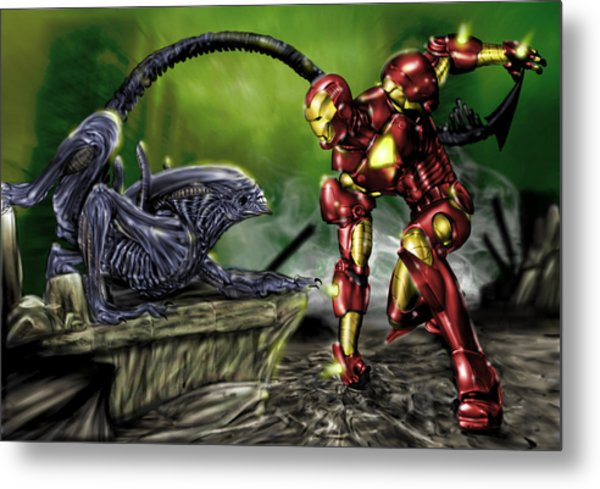 Metal Print featuring the painting Alien Vs Iron Man by Pete Tapang