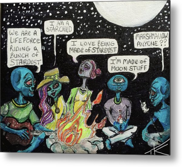 Aliens By The Campfire Metal Print