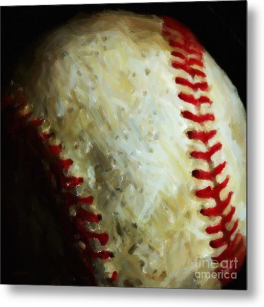 All American Pastime - Baseball - Square - Painterly Metal Print