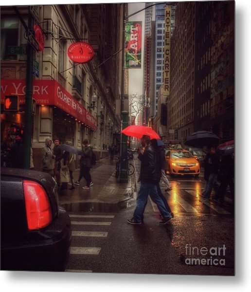 All That Jazz. New York In The Rain. Metal Print